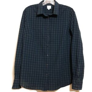 J.Crew The Perfect Shirt sz M navy green plaid